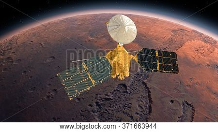 Mars Reconnaissance Orbiter, Mro Orbiting Mars. Mars Planet Rotating In The Outer Space.traveling To