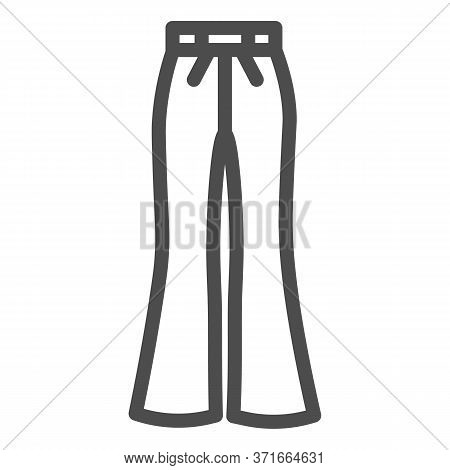 Flared Pants Line Icon, Clothes Concept, Retro Pants Sign On White Background, Flared Jeans Icon In