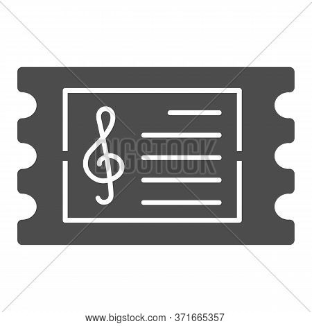 Music Concert Ticket Solid Icon, Music Festival Concept, Invitation Card Sign On White Background, C