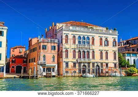 Palazzo Contarini Palace Building In Cannaregio Sestiere From Grand Canal Waterway In Venice Histori