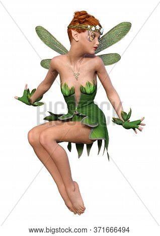 3D Rendering Spring Fairy On White