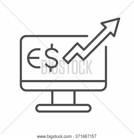 Euro Rate Increase On Computer Monitor Thin Line Icon, Business Strategy Concept, Euro Market Monito