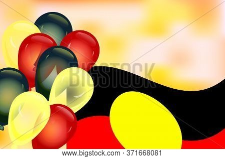 Greeting Card With Australia Aboriginal Flag, National Colors Balloons And Copy Space. Australia Abo