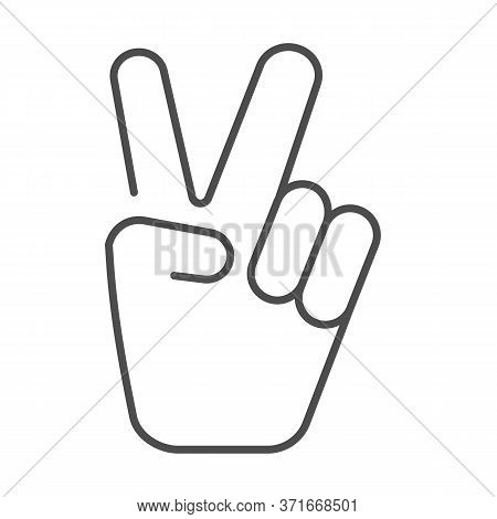 Hand Shows Victory Sign Thin Line Icon, Hand Gestures Concept, Victory Sign On White Background, Pea
