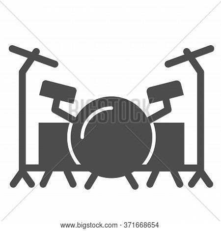 Drums Solid Icon, Music Festival Concept, Drum Set Sign On White Background, Drum Kit Icon In Glyph