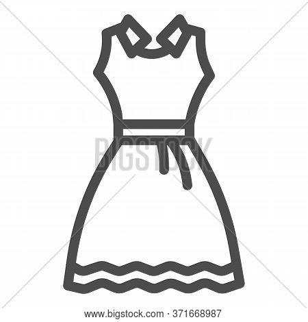 Sundress Line Icon, Summer Clothes Concept, Evening Dress Sign On White Background, Elegant Dress Ic