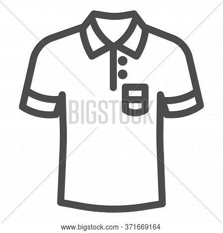 Polo Line Icon, Summer Clothes Concept, Unisex Shirt Sign On White Background, Casual T-shirt Icon I