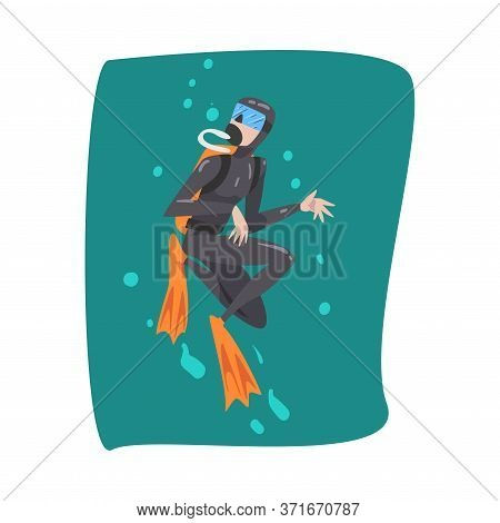 Professional Underwater Scuba Diver, Male Diver In Wetsuit, Snorkel, Mask And Flippers Swimming In T