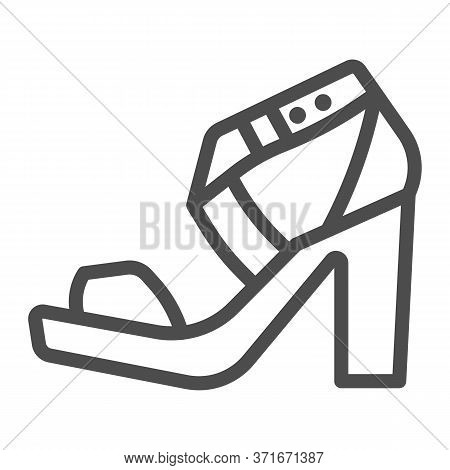 High Heeled Sandal Line Icon, Casual Shoe Concept, Women Shoes Sign On White Background, Woman High