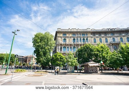Milan. Italy - May 21, 2019: Piazza Castello in Milan. Old Beautiful Building. Sunny Day.