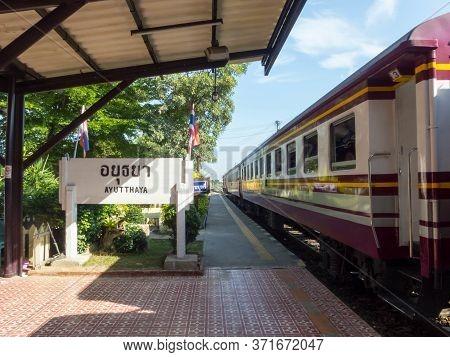 Ayutthaya Train Station Ayutthaya, Thailand -18 October 2018;ayutthaya Train Station Phra Nakhon Si