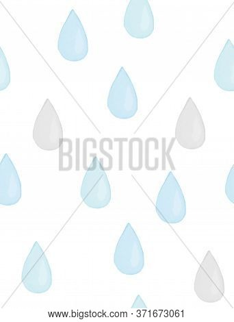 Seamless Vector Pattern With Pastel Blue And Gray Rain Drops. Watercolor Style Rain. Cute Repeatable