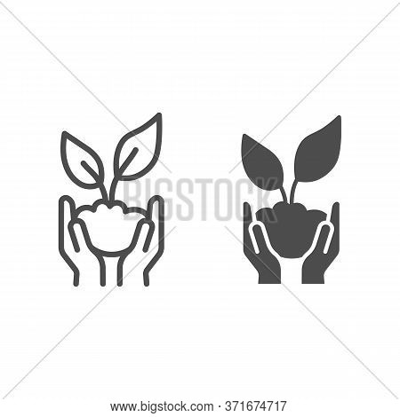 Sprout In Hands Line And Solid Icon, Ecology Concept, Hands Holding Seedling With Leaves Sign On Whi