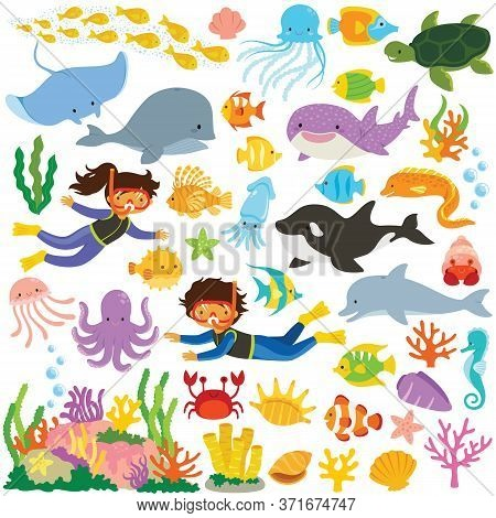 Sea Animals Clipart Set. Big Collection Of Cartoon Cute Sea Creatures And Divers.