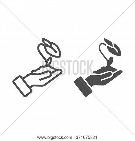 Human Hand Holds Closed Flower Bud In Soil Line And Solid Icon, Ecology Concept, Closed Blossom Sign