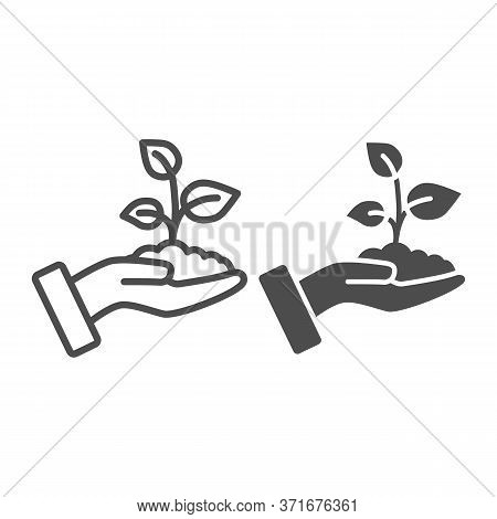 Sprout In A Hand Line And Solid Icon, Save Nature Concept, Sprout Symbol On White Background, Young
