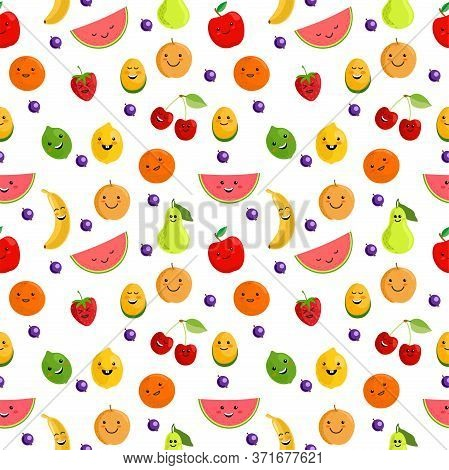 Fruits Seamless Pattern. Cute Summer Seamless Vector Pattern Background Illustration With Fresh Frui