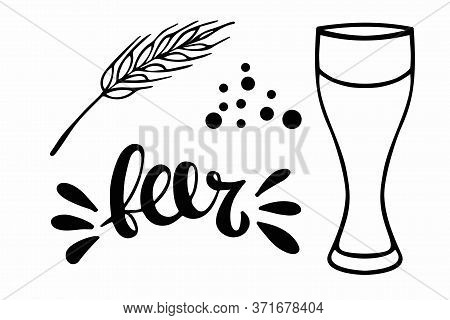 Oktoberfest Set. Linear Empty Beer Glass, Beer Lettering, Spike, Bubbles. Oktoberfest Festival. Hand