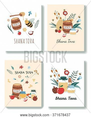 Set Of Rosh Hashanah Greeting Cards. Jewish New Year Holiday Postcards. Happy Shana Tova Template Fo