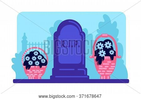 Flowers And Tombstone Flat Color Vector Illustration. Rest In Peace. Gravestone And Bouquets In Ceme