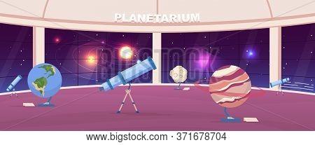 Empty Planetarium Flat Color Vector Illustration. Interactive Public Astrology Exhibition. Planet Ex