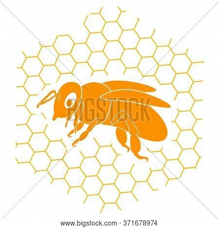 Honey Bee. Honey Logo With A Bee And Honeycomb In Orange Color Isolated On White Background. Can Be