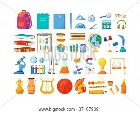 School Subjects And Supplies Flat Color Vector Objects Set. Student Notepad And Backpack. University