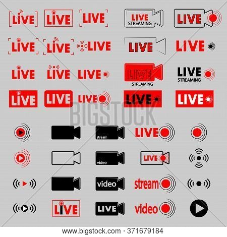 Live Broadcast. Set Of Online Streaming Icons. Red Symbols And Buttons For Live Broadcast, Online