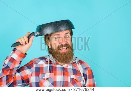 Man With Frying Pan On Head. Crazy Bearded Chef. Happy Man Chef With Pan. Saucepan. Cooking. Kitchen