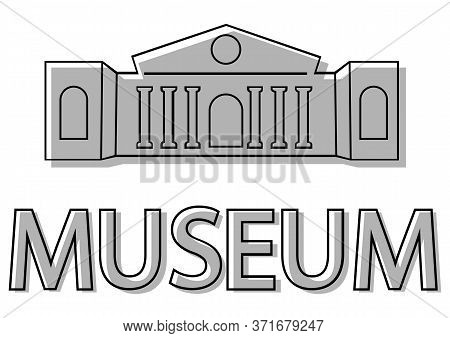 Museum Building Icon. Museum Icon. Logo Of Museum In Flat Style Iconic Symbol. Building In Black Col