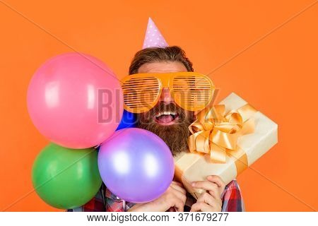 Happy Birthday. Party Time. Man With Balloons And Present. Celebrating Concept. Joy, Fun And Happine