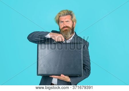Serious Businessman With Suitcase. Business. Office Worker. Ceo. Business Man In Suit. Business, Peo