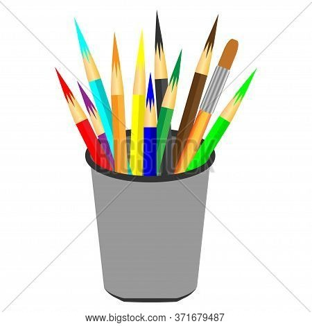 Colorful Pencils In Pencil Case. Color Pencils In A Cup. Vector Realistic Blank Plastic Cup With A S