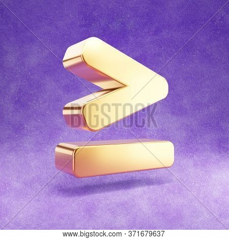 Greater Than Or Equal To Icon. Gold Glossy Greater Or Equal Symbol Isolated On Violet Velvet Backgro