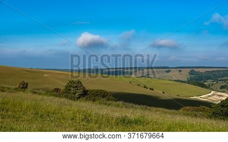 View Of The South Downs From Butts Brow, Eastbourne, Sussex, Uk
