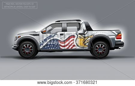 Editable Template For Wrap Suv With Usa Flag And Eagle Decal. Hi-res Vector Graphics