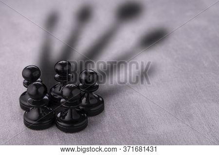 Chess Pawn Circle With Shadow Shaped As A Crown