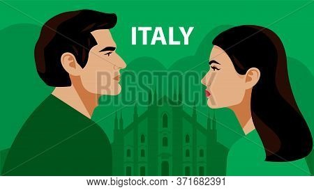 Italians. Man And Woman Opposite Each Other. The Duomo, The Cathedral In Milan. Couple. Beautiful Br