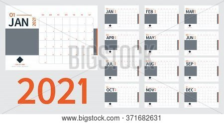 2021 New Year Calendar And Planner Vector In Clean Minimal Table Simple Style And Blue ,orange Color