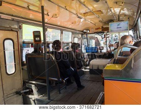 Bangkok Thailand-30 October 2018:  Inside The Cabin Buses In Bangkok.on Bangkok Thailand-30 October