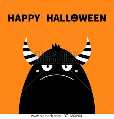 Monster Black Silhouette. Happy Halloween. Cute Cartoon Kawaii Sad Character Icon. Eyes, Striped Hor