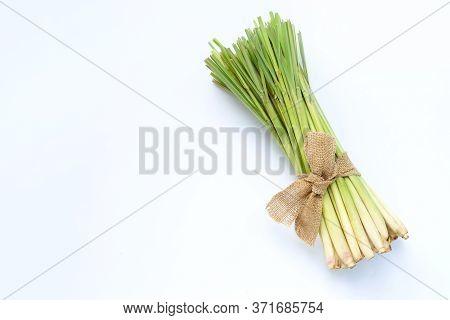 Fresh Lemongrass On White Background. Copy Space