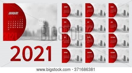 2021 New Year Calendar And Planner Vector In Modern Red Circle Frame And Grey Color,holiday Event Pl