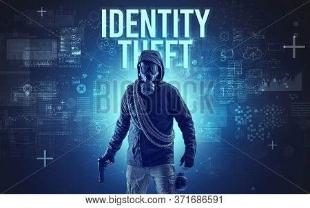 Faceless man with IDENTITY THEFT inscription, online security concept