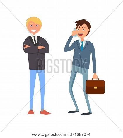 Bearded Businessman In Formal Wear And Executive Worker With Briefcase Speaking On Phone Discussing