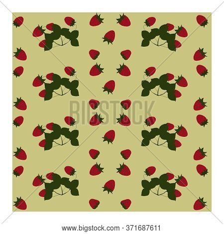 Seamless Pattern With Strawberry Berries, Leaves, Flowers, Branches. Ripe Red Strawberries On Bushes
