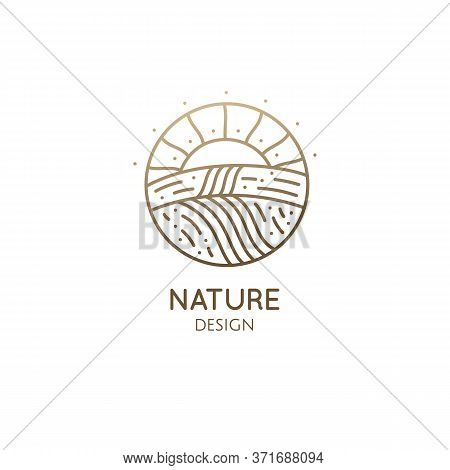 Natural Landscape, Fields And Sun At Sunset. Vector Linear Logo Farm Template, Fertile Fields Plante