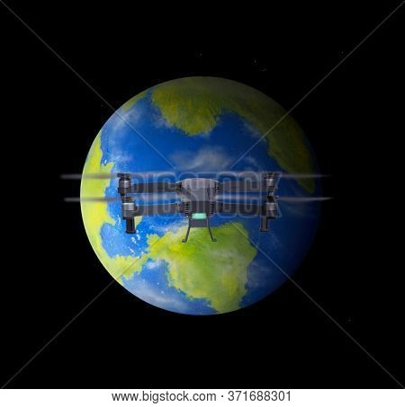 Space view from drone flight over the planet earh globe sculpture made made by the author.