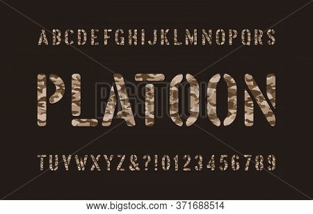Platoon Alphabet Font. Stencil Camouflage Letters And Numbers On A Dark Background. Vector Typescrip