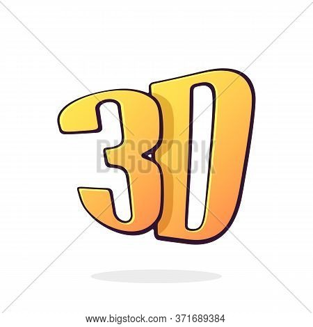 Abbreviation 3d For Three-dimensional Film. Lettering Style Icon For Stereo Movies. Symbol Of The Fi